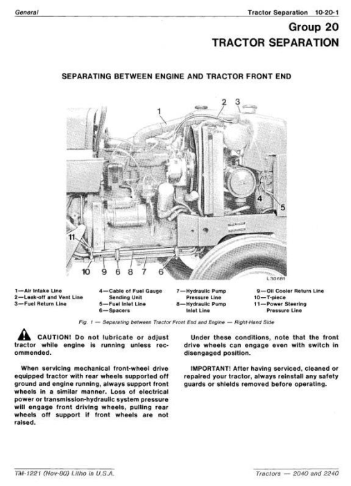 Second Additional product image for - John Deere  2040, 2240 Tractors Technical Service Manual (tm1221)