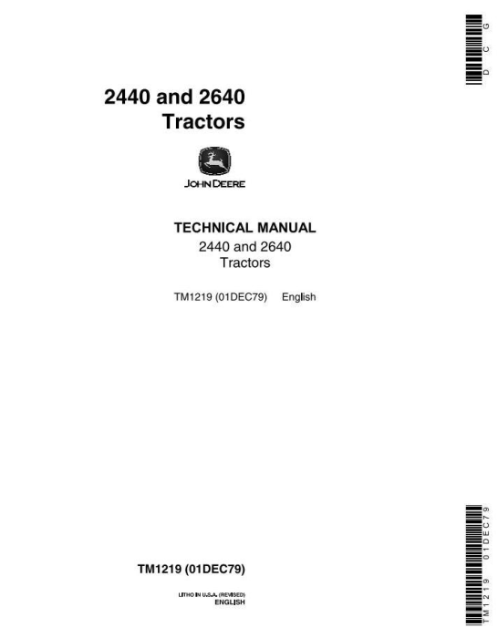 First Additional product image for - John Deere 2440, 2640 Tractors (SN. 341000-) All Inclusive Technical Service Manual (tm1219)