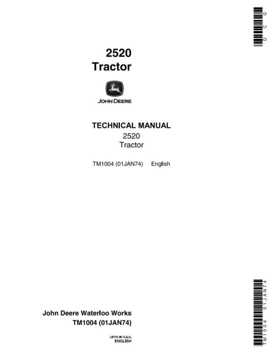 First Additional product image for - John Deere 2520 Row Crop and Hi-Crop Tractors Technical Service Manual (tm1004)