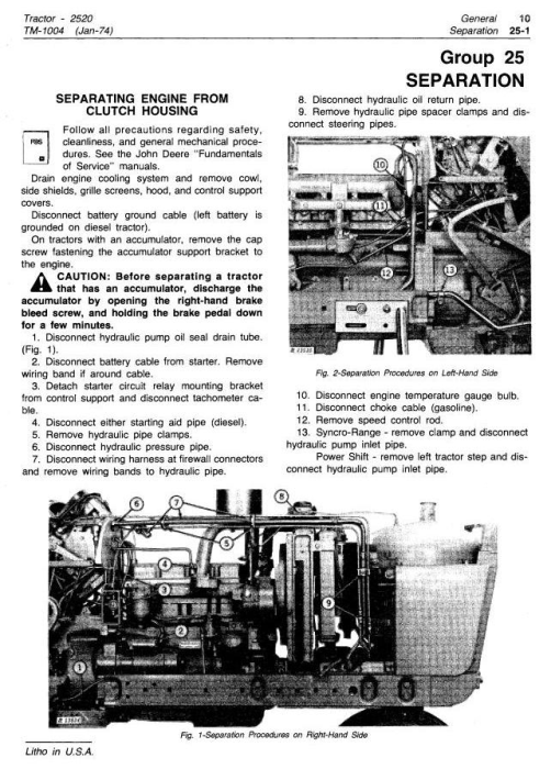 Second Additional product image for - John Deere 2520 Row Crop and Hi-Crop Tractors Technical Service Manual (tm1004)