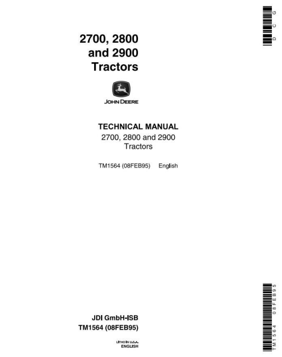 First Additional product image for - John Deere 2700, 2800, 2900 Tractors All Inclusive Technical Service Manual (tm1564)