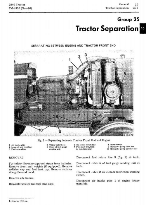 Second Additional product image for - John Deere 2840 Utility Tractor Technical Service Manual (tm4336)