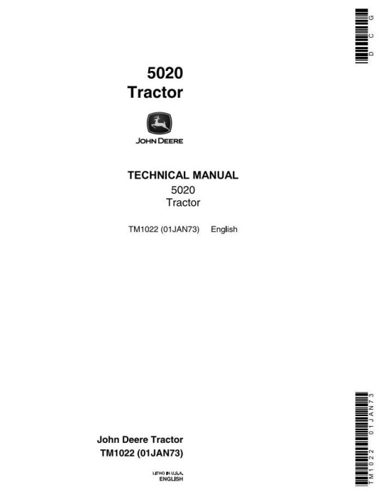 First Additional product image for - John Deere 5020 Row Crop Tractors Technical Service Manual (tm1022)