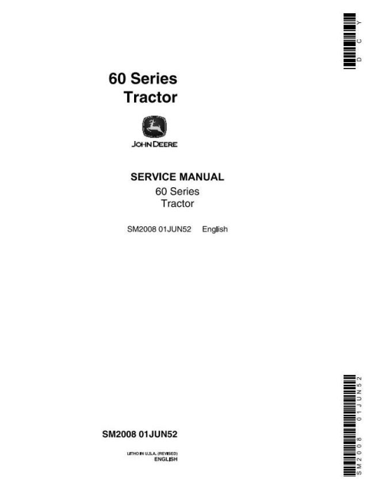 First Additional product image for - John Deere Model 60, 620, 630  Series Tractors Tractors Service Technical Manual (sm2008)