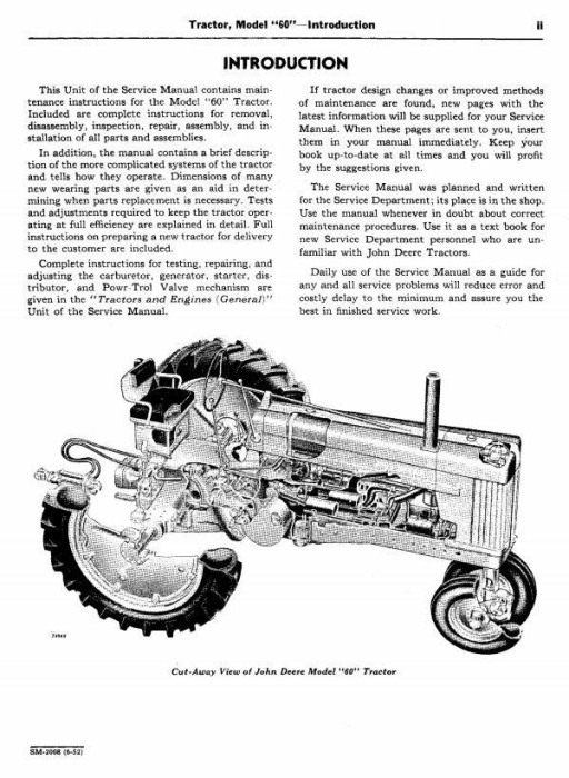 Second Additional product image for - John Deere Model 60, 620, 630  Series Tractors Tractors Service Technical Manual (sm2008)