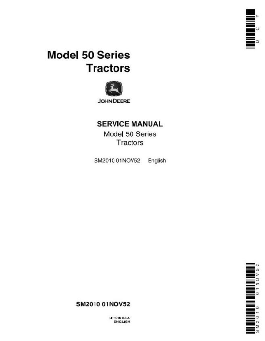 First Additional product image for - John Deere Service Manual for Model 50, 520, 530 Series Tractors (sm2010)