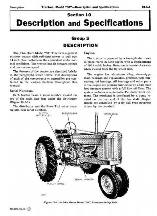 Second Additional product image for - John Deere Service Manual for Model 50, 520, 530 Series Tractors (sm2010)