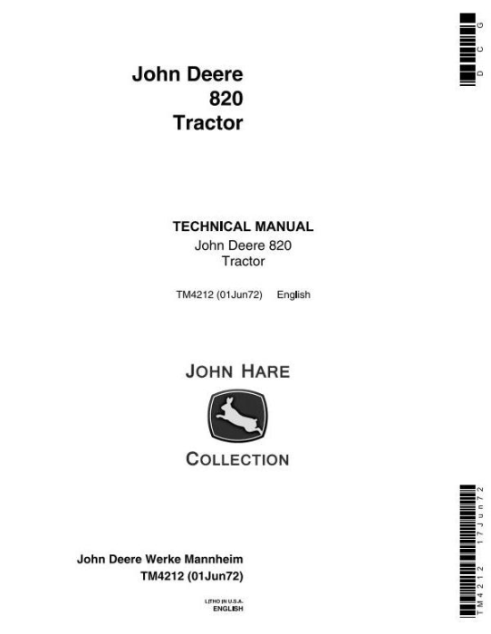 First Additional product image for - John Deere 820 Tractors Technical Service Manual (tm4212)