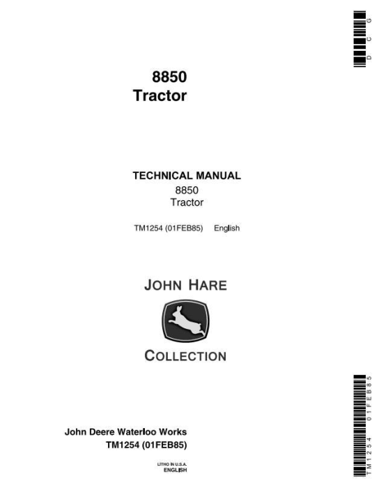 First Additional product image for - John Deere 8850 4WD Articulated Tractors Technical Manual (tm1254)