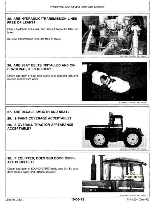 Fourth Additional product image for - John Deere 8850 4WD Articulated Tractors Technical Manual (tm1254)