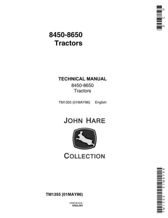 First Additional product image for - John Deere 8450, 8650 4WD Articulated Tractors Technical Service Manual (tm1355)