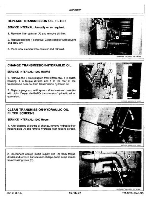 Fourth Additional product image for - John Deere 8450, 8650 4WD Articulated Tractors Technical Service Manual (tm1355)