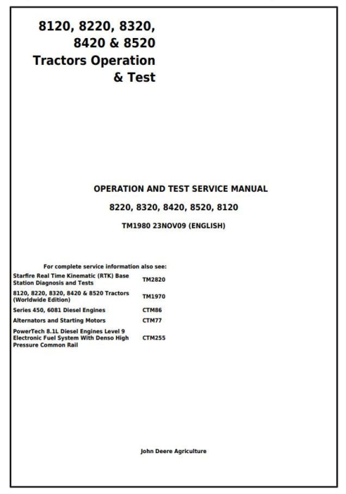 First Additional product image for - John Deere 8120, 8220, 8320, 8420, 8520 Tractors Diagnostic, Operation and Test Service Manual (TM1980)
