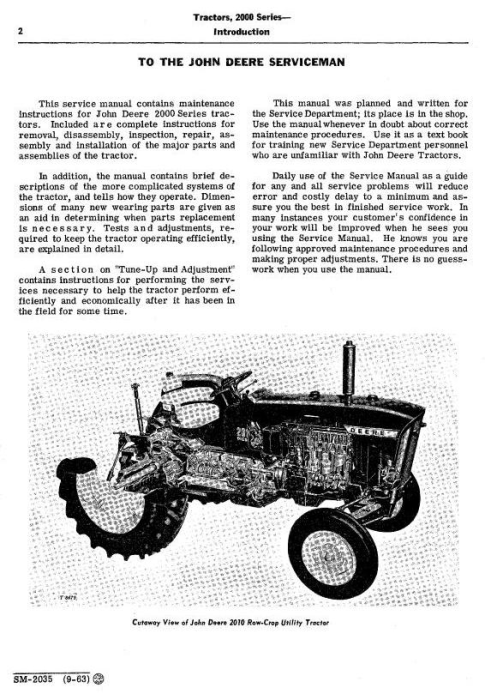 Second Additional product image for - John Deere 2010 Row-Crop, RC Utility, Hi-Crop Tractors Technical Service Manual (sm2035)