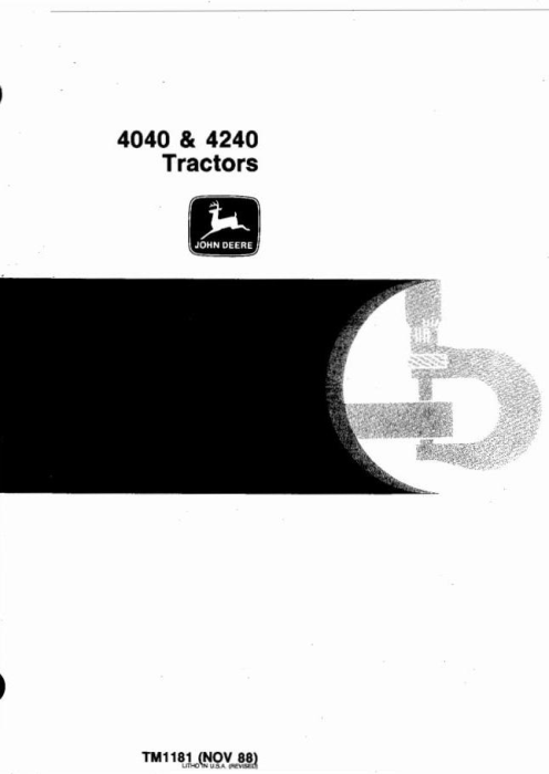 First Additional product image for - John Deere 4040, 4240 Tractors All Inclusive Technical Manual (tm1181)