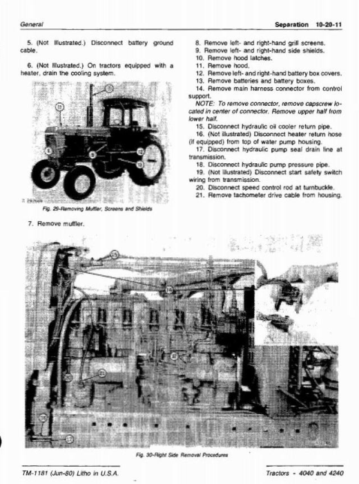 Third Additional product image for - John Deere 4040, 4240 Tractors All Inclusive Technical Manual (tm1181)