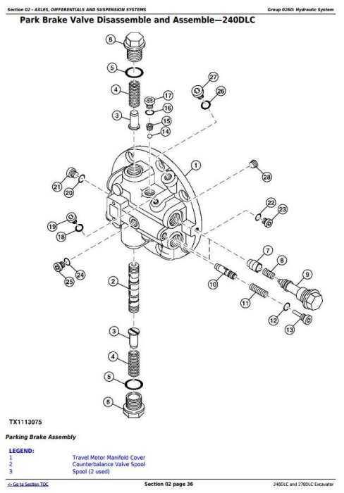 First Additional product image for - John Deere 240DLC and 270DLC Excavator Service Repair Manual Technical (TM2323)