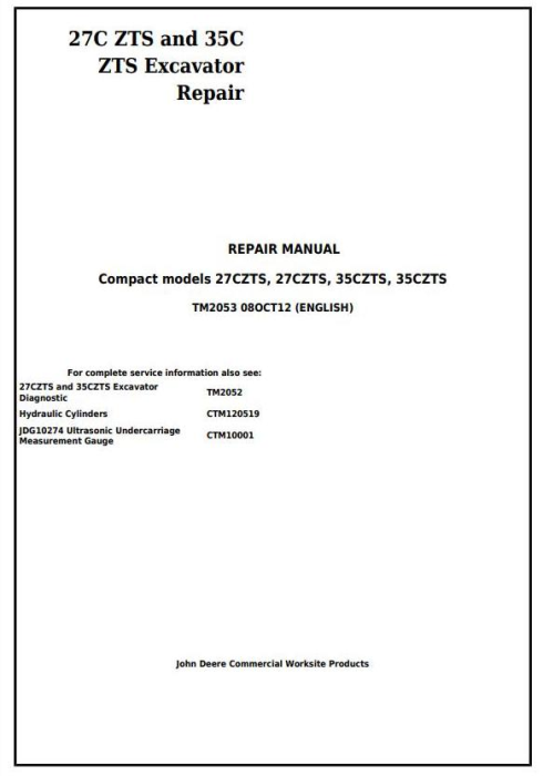 First Additional product image for - John Deere 27Czts and 35Czts Compact Excavator Service Repair Technical Manual (TM2053)