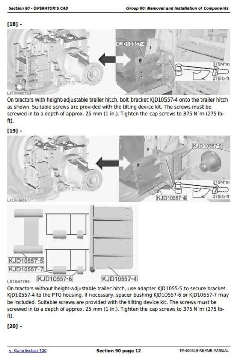 Second Additional product image for - John Deere Tractors 6130, 6230, 6330, 6430, 6530, 6534, 6630 (European) Service Repair Manual (TM400519)