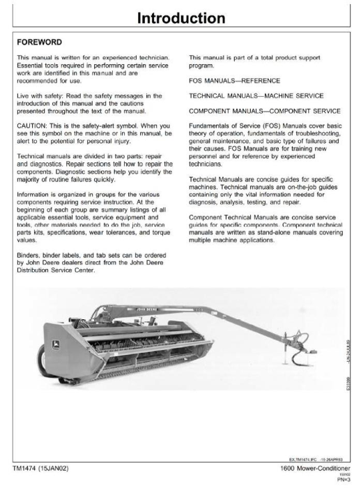 First Additional product image for - John Deere Mower-Conditioner Model 1600 Diagnostic and Repair Technical Service Manual (tm1474)