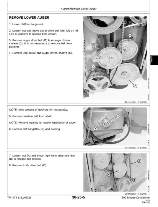 Third Additional product image for - John Deere Mower-Conditioner Model 1600 Diagnostic and Repair Technical Service Manual (tm1474)