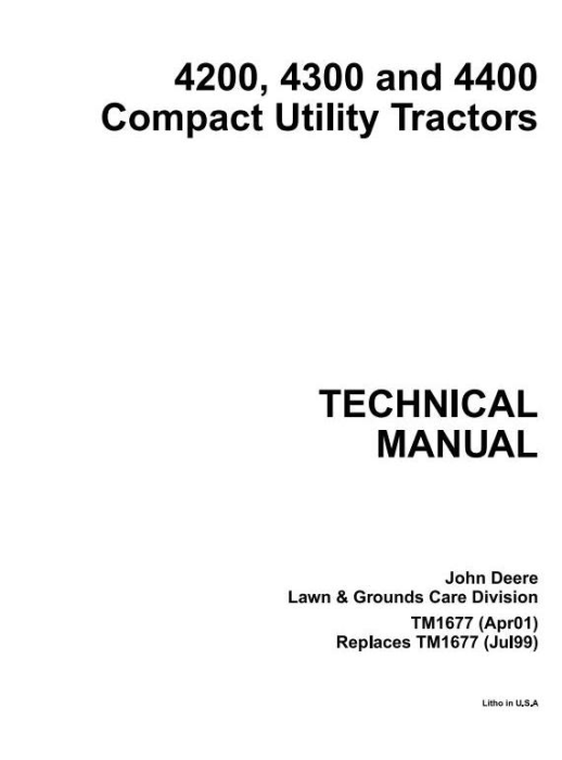 First Additional product image for - John Deere 4200, 4300, 4400 Compact Utility Tractors Technical Service Manual (tm1677)