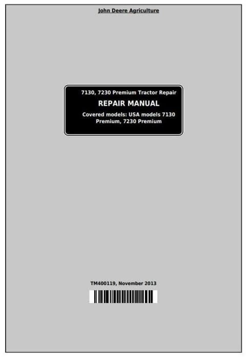 First Additional product image for - John Deere 7130, 7230 Premium Tractors Service Repair Manual (TM400119)