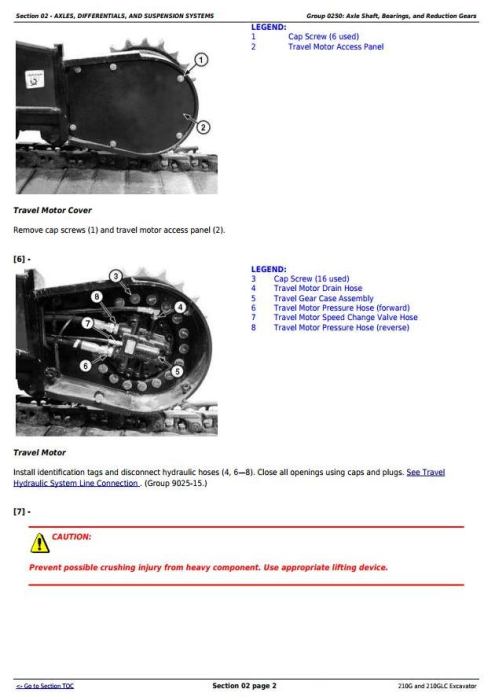 Second Additional product image for - John Deere 210G and 210GLC (PIN: 1FF210GX__F521988-) Excavator Service Repair Manual (TM13351X19)