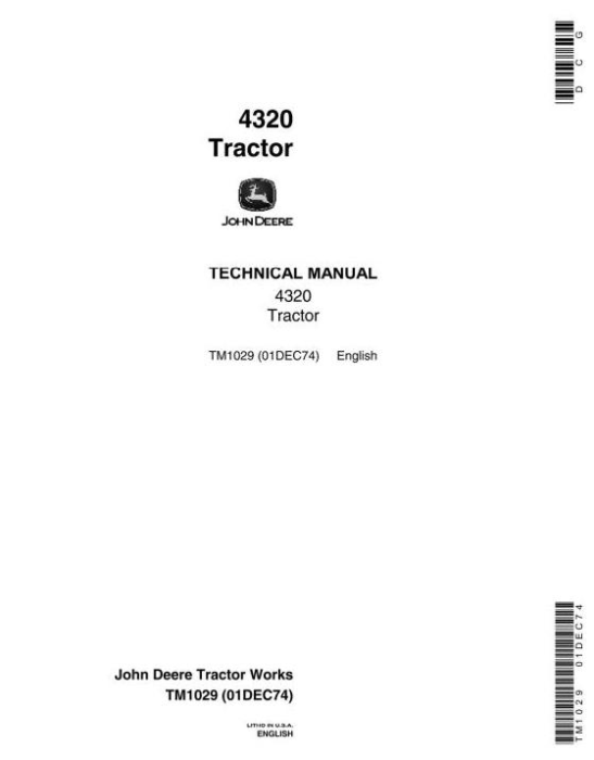 First Additional product image for - John Deere 4320 Tractors Diagnostic and Repair Technical Service Manual (tm1029)