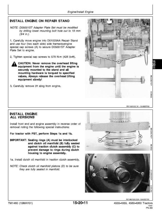 Second Additional product image for - John Deere 4555, 4560, 4755, 4760, 4955, 4960 Tractors Service Repair Technical Manual (tm1460)
