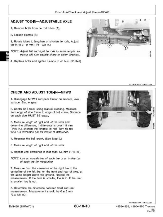 Fourth Additional product image for - John Deere 4555, 4560, 4755, 4760, 4955, 4960 Tractors Service Repair Technical Manual (tm1460)