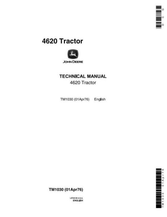 First Additional product image for - John Deere 4620 Tractors Diagnostic and Repair Technical Service Manual (tm1030)