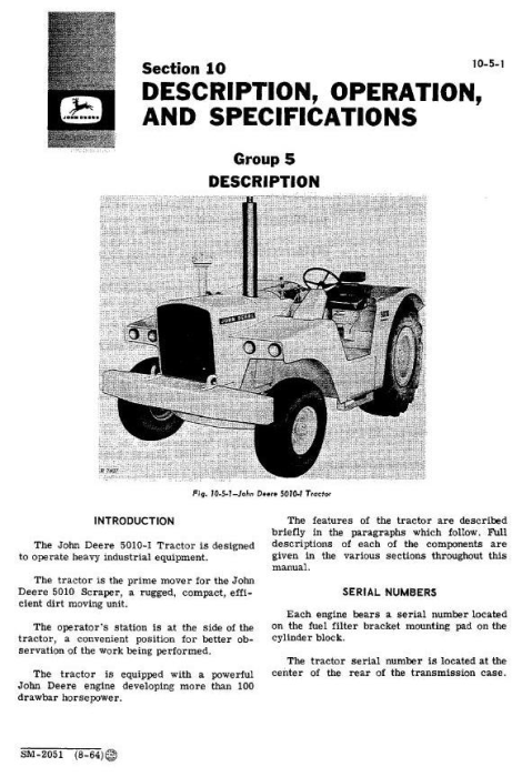 Second Additional product image for - John Deere 5010, 5010i Tractors All Inclusive Technical Service Manual (sm2051)