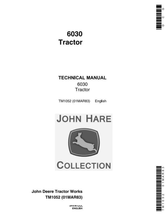 First Additional product image for - John Deere 6030 Row-Crop Tractor Technical Service Manual (tm1052)