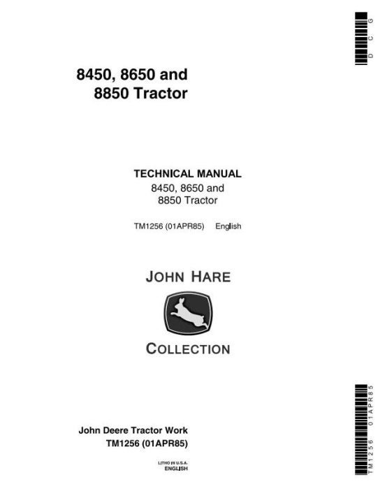 First Additional product image for - John Deere 8450, 8650, 8850 4WD Articulated Tractors Technical Service Manual (tm1256)