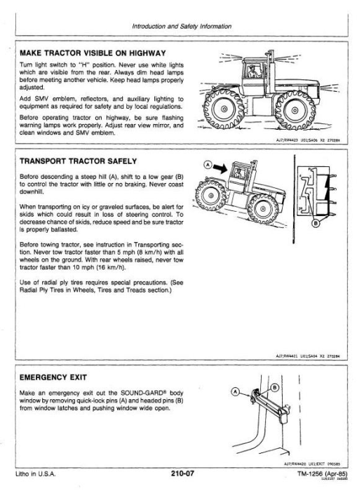 Fourth Additional product image for - John Deere 8450, 8650, 8850 4WD Articulated Tractors Technical Service Manual (tm1256)