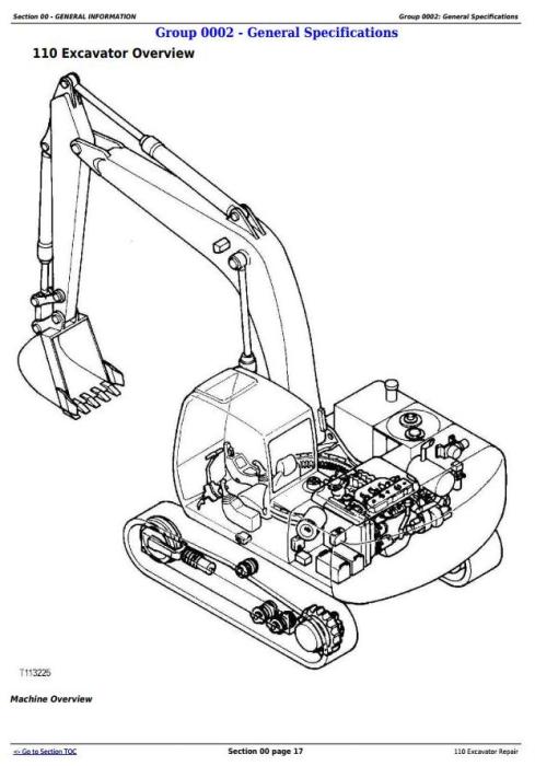 John Deere 110 Excavator Service Repair Technical Manual