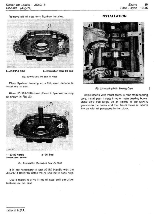 Second Additional product image for - John Deere 401B Utility Construction Tractor Technical Service Manual (tm1091)