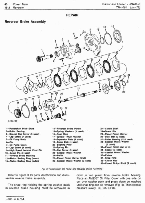 Third Additional product image for - John Deere 401B Utility Construction Tractor Technical Service Manual (tm1091)