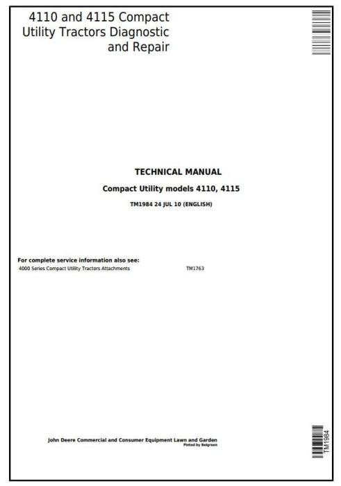 First Additional product image for - John Deere 4110 and 4115 Compact Utility Tractors All Inclusive Technical Service Manual (tm1984)