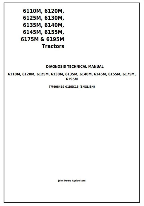 First Additional product image for - John Deere 6110M, 6120M, 6125M, 6130M, 6135M, 6140M, 6145M, 6155M, 6175M, 6195M Diagnostic&Tests TM408419