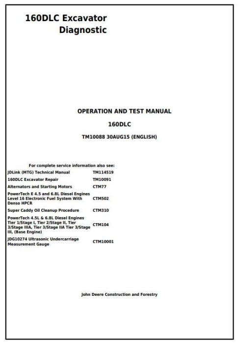 First Additional product image for - John Deere 160DLC Excavator Diagnostic, Operation and Test Manual (TM10088)