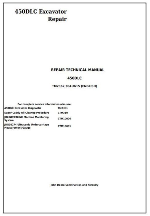 First Additional product image for - John Deere 450DLC Excavator Service Repair Technical Manual (TM2362)