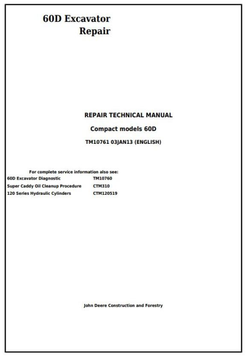 First Additional product image for - John Deere 60D Compact Excavator Service Repair Technical Manual (TM10761)