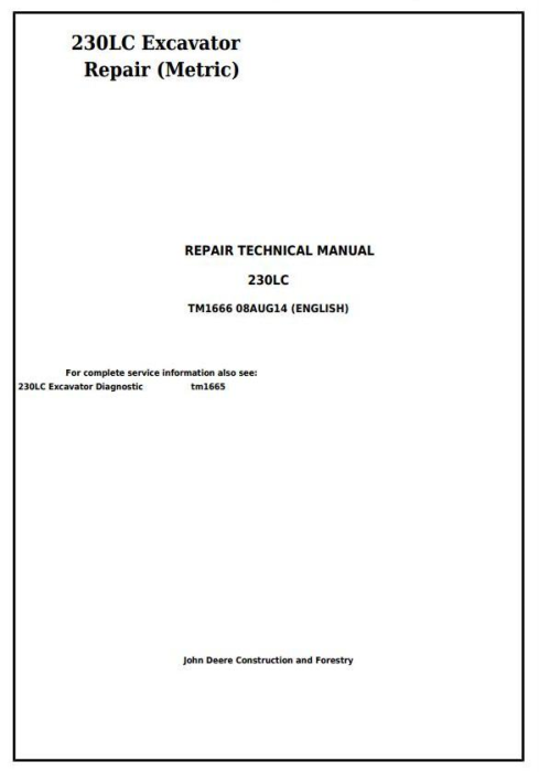 First Additional product image for - John Deere 230LC Excavator (Metric) Service Repair Technical Manual (tm1666)