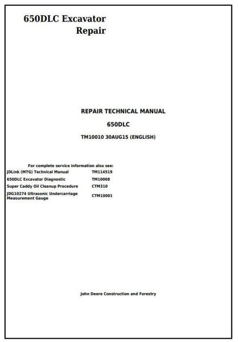 First Additional product image for - John Deere 650DLC Excavator Service Repair Technical Manual (TM10010)
