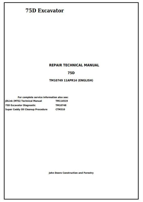 First Additional product image for - John Deere 75D Excavator Service Repair Technical Manual (TM10749)