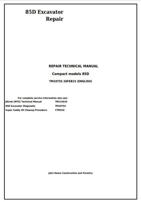 First Additional product image for - John Deere 85D Excavator Service Repair Technical Manual (TM10755)