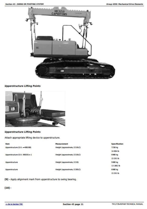 Second Additional product image for - John Deere E210, E210LC and E230LC (T2/S2) Excavator Service Repair Technical Manual (TM12735)