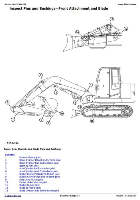 Fourth Additional product image for - John Deere 75G (FT4) Compact Excavator Service Repair Technical Manual (TM12876)